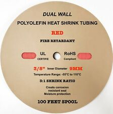 "100 Ft. RED 3/8"" 9mm ID Dual-Wall Adhesive 3:1 Ratio Heat Shrink Tubing M23053/4"
