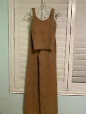 SKIMS Cozy Knit Tank and Pant set in Camel color