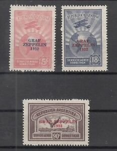 EH9179/ ARGENTINA – AIRMAIL ZEPPELIN – Y&T # A19 M / A19 P COMPLETE MINT MH