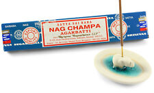 White ceramic elephant incense holder porcelain gift set free Nag Champa sticks