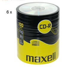 MAXELL CD-R Recordable Blank CDs PC Laptop Computer Shrink Wrapped 100Pk x6