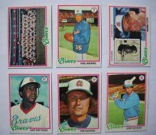 1978 Topps Atlanta Braves Complete Team Set (26 Cards) Near Mint NM