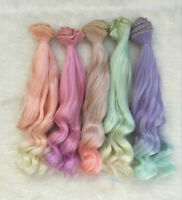 25cm Long Colorful Ombre Curly Wave Doll Synthetic DIY Hair Extensions For Dolls