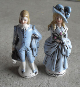 """Vintage Germany 20386 Set of 2 Colonial Man and Woman Figurines 4 3/4"""" Tall"""