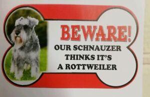 Schnauzer Beware of the dog sign 12cm x 21cm