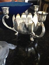 silver plated lotus centerpiece with frog flower holder & 3 candle holders
