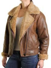 Manteaux et vestes motards beiges en cuir pour femme