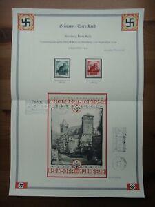 Germany Nazi 1934 Stamps Swastika Sun Nuremberg Castle WWII Third Reich German D