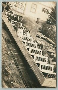 Manitou Colorado~View Of Inclined Railway Cart~Real Photo Postcard~RPPC