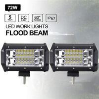 72W LED Work Light Bar Flood Beam DRL Fog Lamp Offroad SUV 4WD Boat DC10~48V