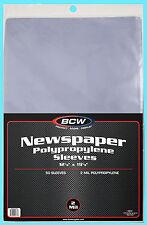 "50 BCW 12X19 NEWSPAPER 2 MIL STORAGE SLEEVES Clear Poly Art Photo Print 12""x19"""