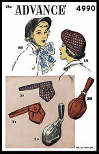 1940's Millinery ADVANCE # 4990 Hats BAGS PURSE Fascinator Fabric Sewing Pattern