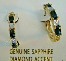 Sapphire 18K Gold Plated Diamond Accent Hoop Earrings