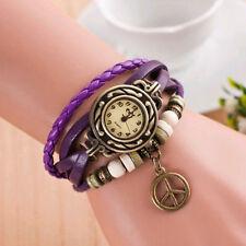 Reino Unido Ladies Aspecto de Cuero Reloj de Marca de Paz Vintage multicapa pulsera de dijes púrpura