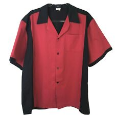 Hilton Retro Bowling Shirt Men's Large Red Black Button Front Relaxed Fit