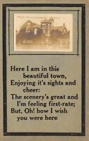 Enterprise Kansas~High School Mini RPPC~Wish You Were Here Poem~1912 Zercher PC
