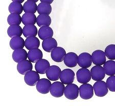6mm Matte Frosted Neon Rubberized Glass Round Beads -  Blue Violet 16""