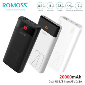 ROMOSS Power Bank 20000mAh Charge Rapide Portable Batterie Externe 2USB Chargeur