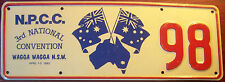 1983 N.P.C.C N.S.W.. AUSTRALIA NATIONAL CONVENTION LICENSE NUMBER PLATE # 98