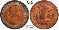 1960 GREAT BRITAIN HALF PENNY PCGS MS65RB COLOR TONED COIN NONE GRADED HIGHER