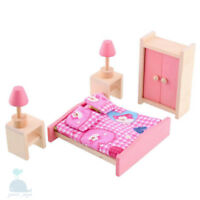 Class Pink Wooden Furniture Dolls House Bedroom Set Miniature No Dolls