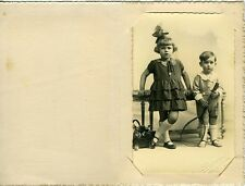 PHOTO Liège MAX Enfants Kids sister & brother raquette toy circa 1900