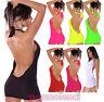 Top miniabito maxishirt donna schiena nuda gogo style abito scollato AV92