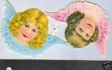 Pair Vintage Victorian large Angel Heads Germany Zoeke