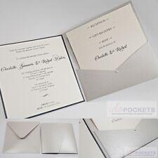 SILVER SHIMMER SQUARE WEDDING INVITATION ENVELOPES DIY SLEEVE POCKET 150MM 6 x 6