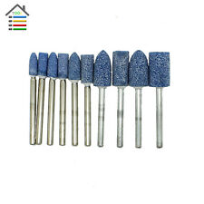 10pc Blue Abrasive Mounted Stone Rotary Tool Grinding Burr 1/8 Shank For Dremel