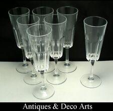 6 +1 Anciennes Flutes à Champagne en Demi-Cristal
