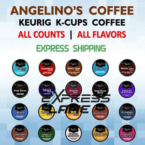 Angelino's Coffee 72 K Cups Pods Capsules Keurig Single-Use lot FRESH FLAVORS