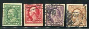 1908 Scott #343-46 Washington / Franklin Imperf Stamps Used