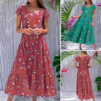 Women Summer Beach Short Sleeve Retro Floral Printed Sundress A-Line Flare Dress