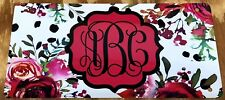 Monogram Red License Plate Personalized Rose Flower Custom Initials Car Tag New