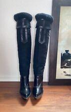 US Size 7 Stella McCartney Black Wedge Platform Boots EUR 37 Faux Leather RARE