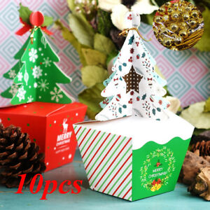 10Pcs Merry Christmas Tree Bell Party Paper Favour Gift Sweets Carrier Bag Boxes