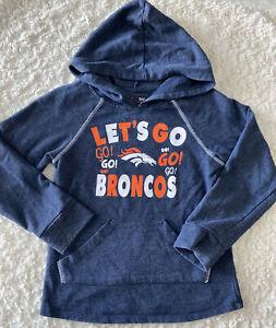 NFL Denver Broncos Football Girls Blue Orange Long Sleeve Hoodie Shirt 7-8