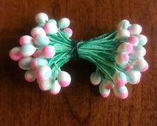 Vintage Millinery Flower Stamen Pink Blue White fat Tips Chunky EC12