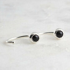Black Onyx Hugger Hoop Earrings Tragus Cartilage Piercing SS-D9-GA20- 3mm