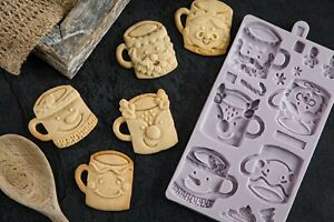 Karen Davies Sugarcraft Festive Mugs Mould for Christmas Cakes and cookies