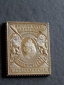 KENYA-BEA-QV 1897 50 RUPEES--925 STERLING SILVER+GOLD PLATED STAMP INGOT-19g