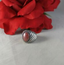 Sterling Silver Carolyn Pollack Pink Rhodonite 13g Ring Size 7 Cat Rescue