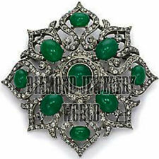 Antique Finished 6.89cts Rose Cut Diamond Emerald Studded Jewelry Silver Brooch