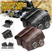 Pair Universal Motorcycle Motorbike Saddle Bag PU Leather Side Storage Pouch