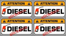 ATTENTION DIESEL GASOIL CARBURANT 7CM AUTOCOLLANT STICKERS X4 TRAPPE A ESSENCE