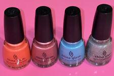 Lot Of 4 China Glaze Nail Polish Glitter New Unused Glittery Pink Purple Blue