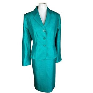 LE SUIT Women 2PC Green Polyester Metallic Lined Notch Collar Skirt Suit SZ 16P
