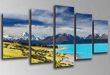 Cuadro Moderno Fotografico Paisaje Nueva Zelanda, Base Madera 145x62 cm, 26019