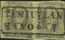 J) 1861 Mexico, Hidalgo, Un Real, Pair, Black Cancellation, Teziuan, District, J